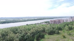 Panorama of the city and river. Shooting from a quadrocopter Stock Footage