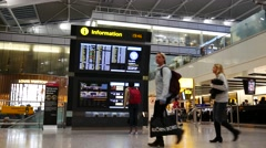 Crowded People Inside Heathrow Airport Terminal 5 - stock footage