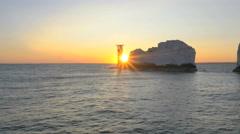 Aerial Drone Needles Alum Bay UK tourism travel sunset - stock footage
