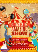 Circus performance announcement vintage poster Stock Illustration