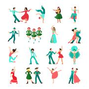 Various style dancing man icons Stock Illustration
