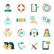 Flat Style Color Icons Of Customer Support Stock Illustration