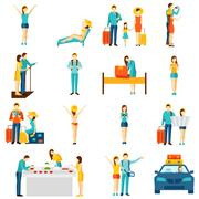 International tourism travelling flat icons set Stock Illustration