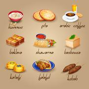 Arabic Food Icons Set - stock illustration