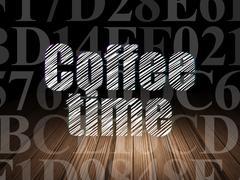 Timeline concept: Coffee Time in grunge dark room Stock Illustration