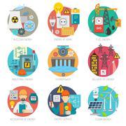 Energy flat icons composition set - stock illustration