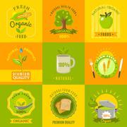 Natural food emblems flat icons set Stock Illustration