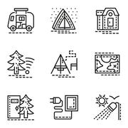 Elements of camping simple line vector icons set - stock illustration