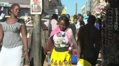 People busy walking on a Kampala Street Stock Footage