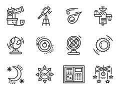 Stock Illustration of Black line vector icons for astronomy