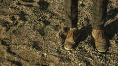 Traces of the shoe on a sand dune in the desert Stock Footage