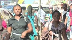 Walking around a busy Kampala Street Stock Footage