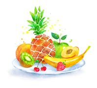 Still life with fruit on plate. - stock illustration