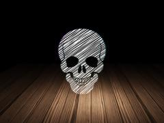 Health concept: Scull in grunge dark room - stock illustration