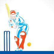 colorful cricket player hit the big ball , sketch design vector - stock illustration