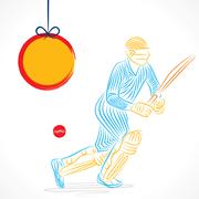 creative abstract cricket player design by brush stroke vector - stock illustration