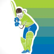 creative cricket player banner design vector - stock illustration