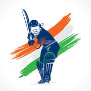 abstract cricket player design by brush stroke vector - stock illustration