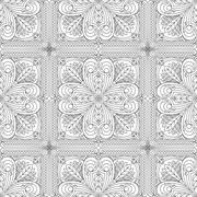 Rich decorated calligraphic outlined stroke monochrome seamless pattern. Vect - stock illustration