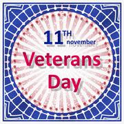Veterans Day decor in grunge style with rays and caption 11th November Vetera - stock illustration