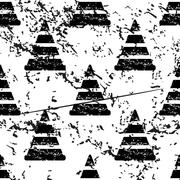 Traffic cone pattern, grunge, monochrome - stock illustration