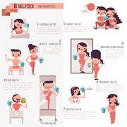 Eight selfies infographic Illustrator - stock illustration
