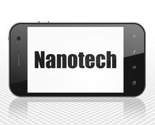 Science concept: Smartphone with Nanotech on display - stock illustration
