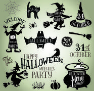Halloween silhouettes Stock Illustration
