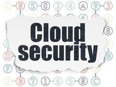 Cloud computing concept: Cloud Security on Torn Paper background Stock Illustration