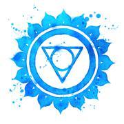 Stock Illustration of Vishuddha chakra symbol.