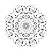 Round ornamental floral vector shape, black pattern isolated on white - stock illustration