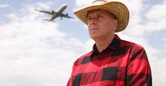 Countryman Cowboy Hat International Airport Waiting Business Travel Air Flight Stock Footage