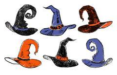 Vintage witch hats. Stock Illustration