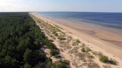 Aerial view of baltic sea beach Stock Footage
