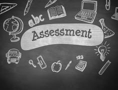 Stock Illustration of Assessment against black background