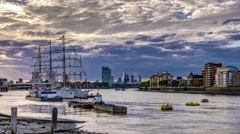 Timelapse of tall ships in Greenwich Stock Footage
