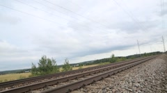 Old train approaching and drive by Stock Footage
