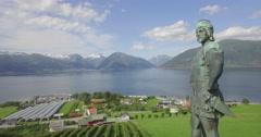 Bronze statue of Frithiof, Vangsnes, Sognefjord, Sogn og Fjordane, Norway - stock footage