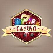 Casino vector illustration with golden ribbon, chips, dice, card and lucky se - stock illustration