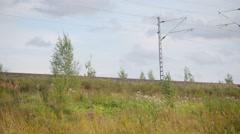 Two trains meet at rural area Stock Footage