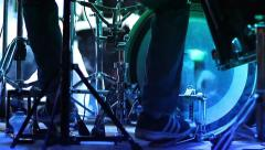 Rock concert Legs drummer beat the rhythm on a drum set - stock footage