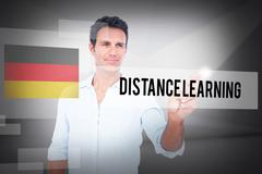 Distance learning against abstract white room Stock Photos