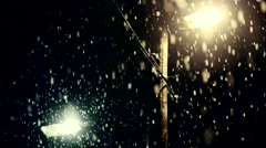 Heavy snowing at night - stock footage