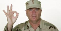 American Infantry Soldier Give Ok Sign Well Done Job Circle Round Hand Fingers Stock Footage