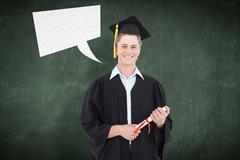 Composite image of man smiling as he has just graduated with his degree - stock photo
