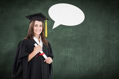 Composite image of a smiling woman with her degree as she looks at the camera - stock photo
