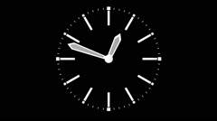 Analog clock with arrows on a black background Stock Footage