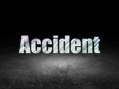 Insurance concept: Accident in grunge dark room - stock illustration