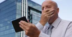 Outside Company Building Stressed Business Man Use Tablet Read Office Bad News Stock Footage