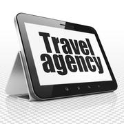 Vacation concept: Tablet Computer with Travel Agency on display - stock illustration
